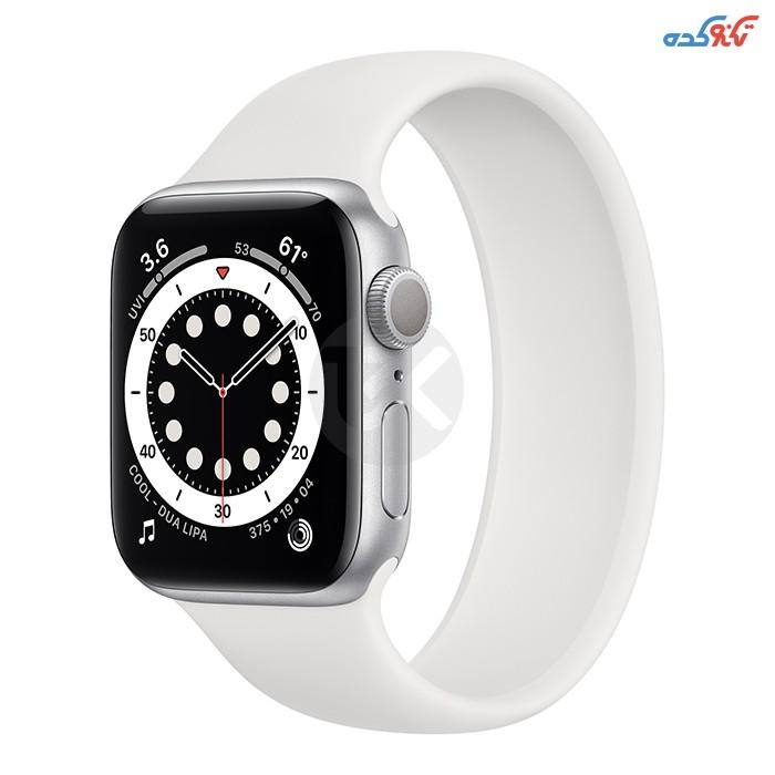 ساعت هوشمند اپل سری 6 40میلیمتر، بدنه آلومینیومی نقره ای همراه با بند اسپورت